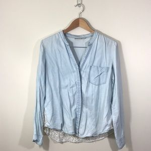 Anthro Holding Horses Chambray Lace Back Top